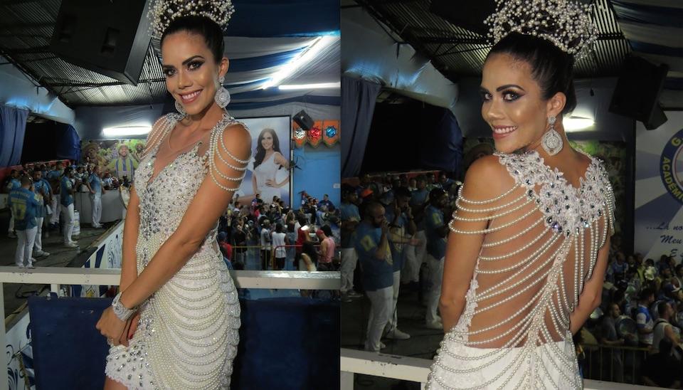 Rainha de bateria da Acadêmicos do Tucuruvi, a apresentadora Daniela Albuquerque marcou presença em ensaio geral na quadra da escola de samba