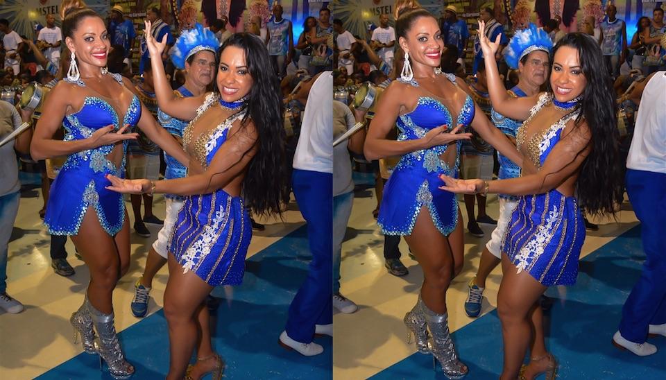 Ana Paula Evangelista e a rainha de bateria da Beija-Flor, Raissa de Oliveira