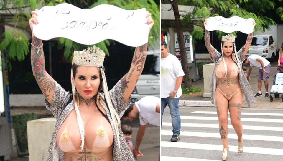 Sabrina Boing Boing cumpriu sua promessa e desfilou nua na Av. Paulista para comemorar o título da Acadêmicos do Tatuapé nesta quinta-feira (2). A musa da escola havia prometido a aparição nua caso a agremiação fosse campeã do Carnaval de SP