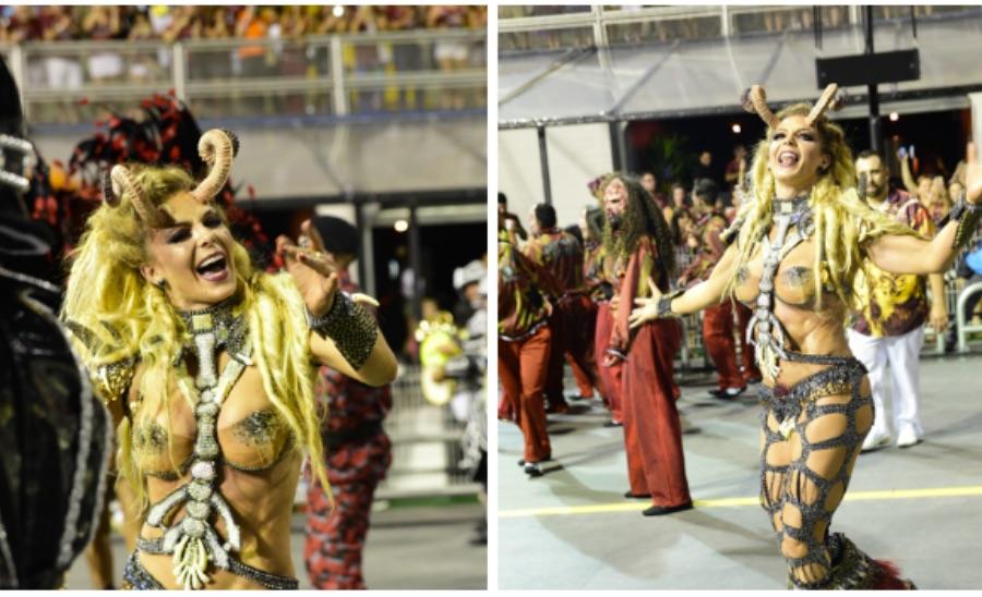 Sheilla Melo desfila pela Tricolor Independente na primeira noite dos desfiles em São Paulo
