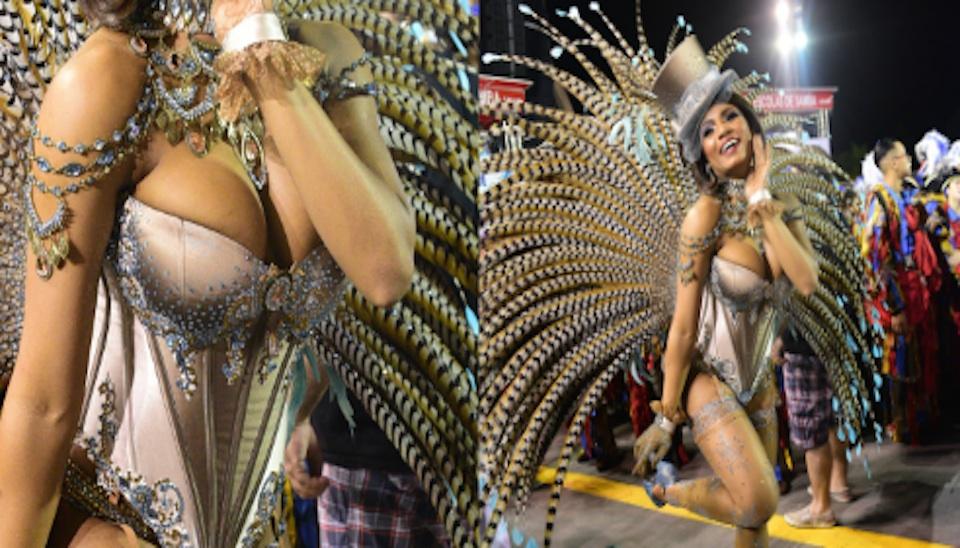 Valeska Reis desfila pela Império de Casa Verde, no segundo dia dos desfiles das escolas de samba de São Paulo
