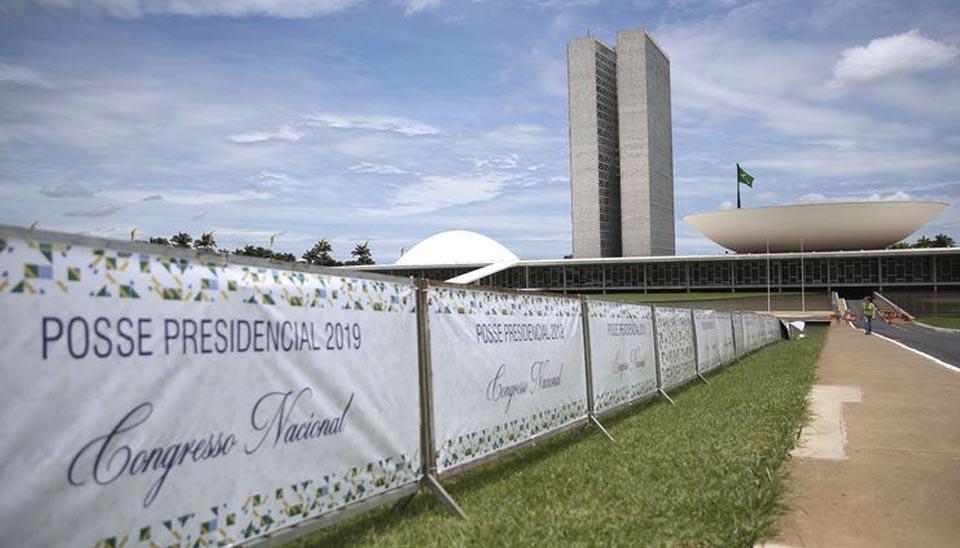 Esplanada dos Ministérios preparada para a posse do presidente eleito Jair Bolsonaro.