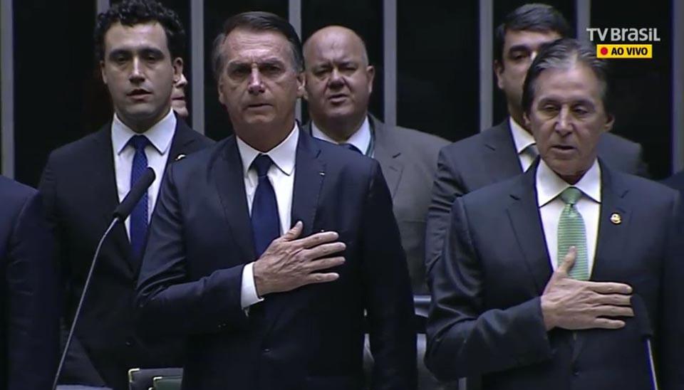 O presidente eleito Jair Bolsonaro no Congresso Nacional para a sessão solene de posse