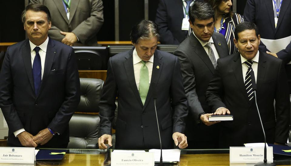 O vice-presidente Hamilton Mourão faz seu discurso