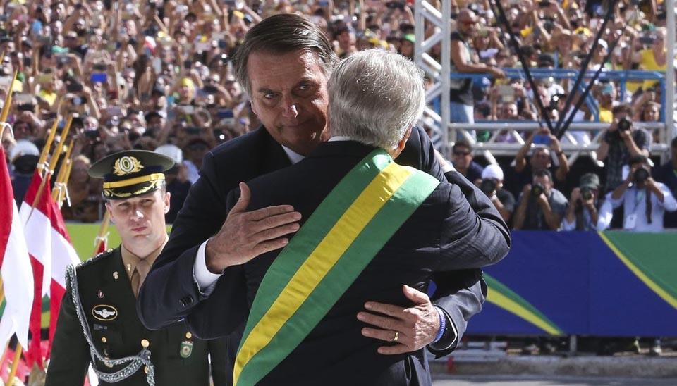 Michel Temer recebe o presidente Jair Bolsonaro no Palácio do Planalto, para cerimônia de transmissão da Faixa Presidencial