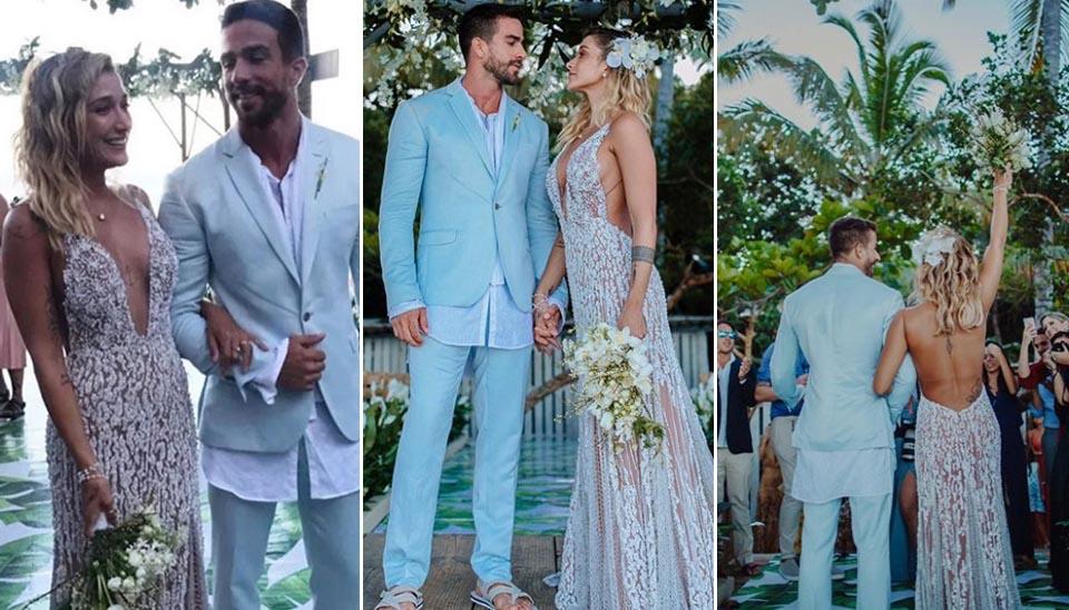 Gabriela Pugliesi e Erasmo Viana se casaram em Trancoso, na Bahia, em abril