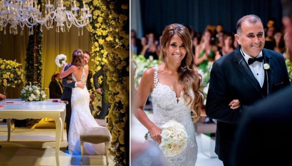 Namorados desde a infância e pais de dois filhos juntos, o jogador Lionel Messi e Antonella Roccuzzo fizeram o casamento em Rosario, na Argentina, em julho