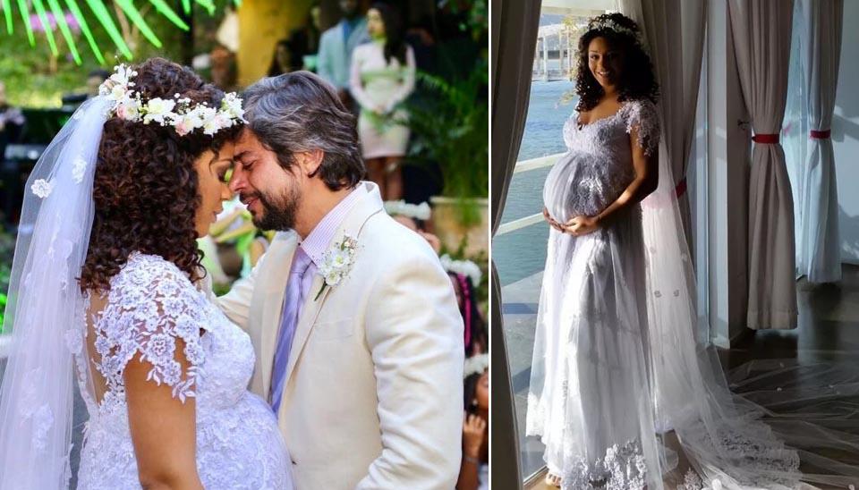 À espera da primeira filha, a atriz Juliana Alves e o produtor musical Ernani Nunes se casaram em agosto, dois meses antes do nascimento de Yolanda