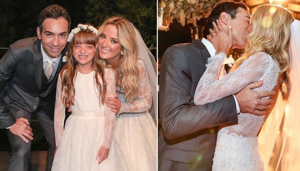 Ticiane Pinheiro e César Tralli oficializaram a união com a cerimônia em Campos do Jordão, mesmo local do pedido de noivado, em dezembro