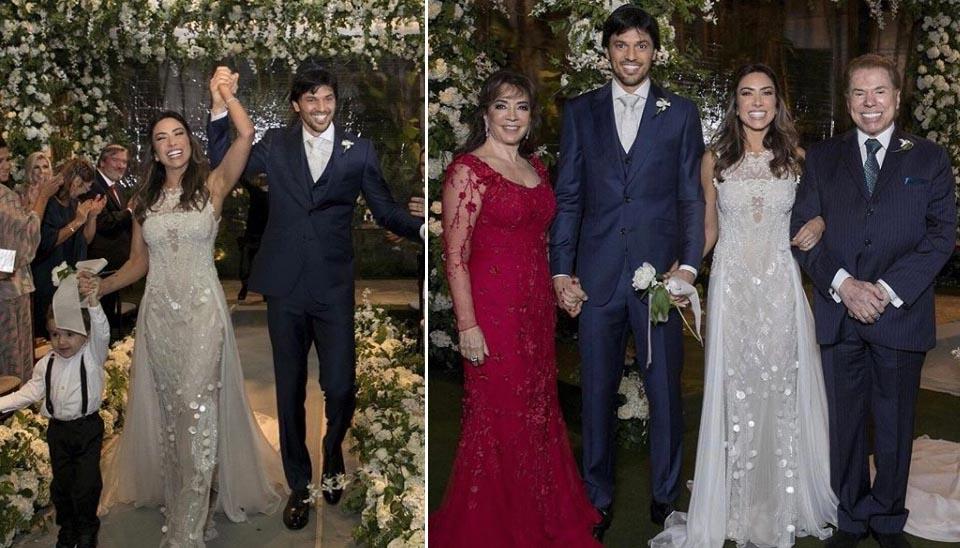 Patrícia Abravanel fez uma grande festa na mansão da família para celebrar seu casamento com Fábio Faria, com quem tem um filho, Pedro, e também espera a segunda filha do casal. A festa foi em abril