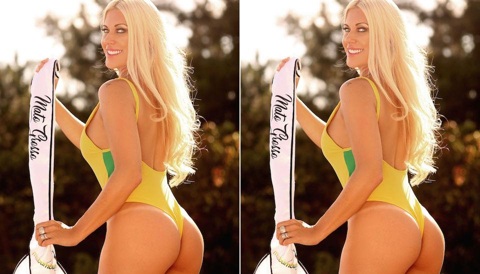 A ex-BBB Antonella Avellaneda posou com o novo maiô da edição do Miss Bumbum Brasil 2018