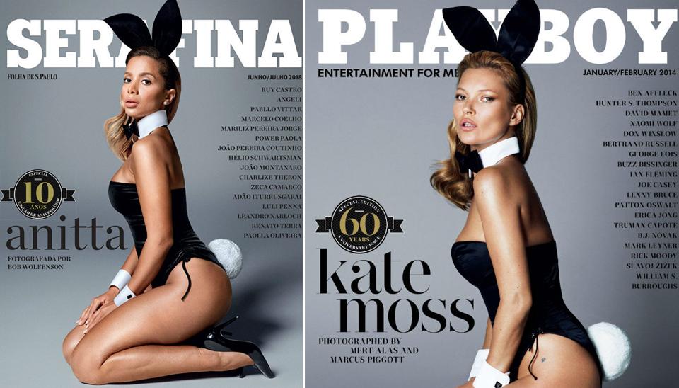"""Já a """"poderosa"""" Anitta encarou as famosas orelhas de coelhinha para prestigiar Kate Moss na revista Playboy"""