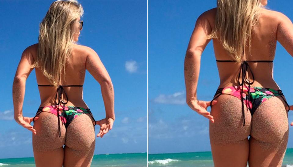 A ex-BBB Renata D?Ávila deu o que falar ao mostrar bumbum coberto de areia em foto postada no Instagram. O clique inesquecível é de 2016 e foi registrado durante passagem da loira por Maceió, em Alagoas