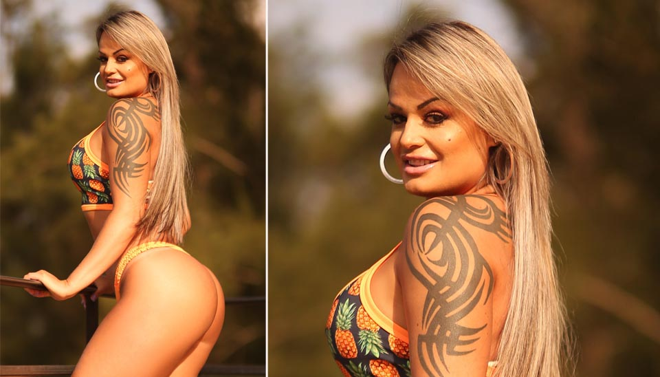 Aline já fez fotos muito ousadas para ganhar votos no concurso Miss Bumbum. Alguns fãs apontam que Uva é parecida com Andressa Urach. Você concorda?