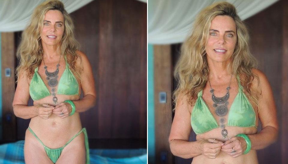 Bruna Lombardi não tem medo de mostrar o corpo. Há cinco dias, a loira aproveitou suas férias para curtir o dia ensolarado e presenteou os fãs com um a bela foto de biquíni minúsculo.