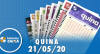 Resultado da Quina - Concurso nº 5275 - 21/05/2020
