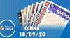 Resultado da Quina - Concurso nº 5369 - 18/09/2020