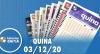 Resultado da Quina - Concurso nº 5432 - 03/12/2020