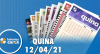 Resultado da Quina - Concurso nº 5538 - 12/04/2021