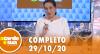 A Tarde é Sua (29/10/20) | Completo