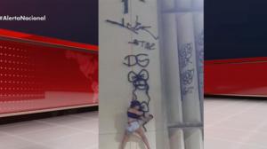Mulher escala prédio de 12 metros de altura para fazer pichação no Ceará
