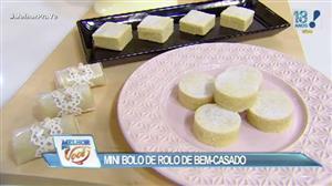 Edu Guedes e convidada ensinam a fazer mini bolo de rolo de bem-casado