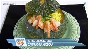 Edu Guedes e convidado ensinam receita de arroz cremoso com camarão