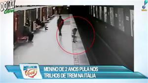 Menino de 2 anos pula nos trilhos de trem na Itália