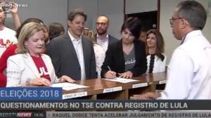 Seis pedidos de impugnação são feitos à candidatura de Lula