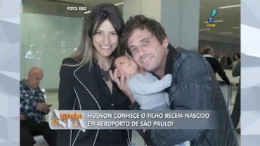 Hudson conhece o filho rec�m-nascido em aeroporto de S�o Paulo (6)