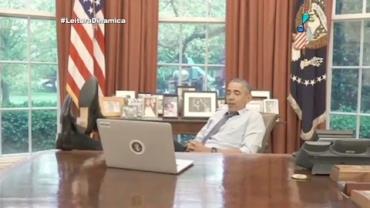 Obama relaxa, brinca com Snapchat e curte Toy Story em v�deo divertido