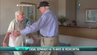 Casal se reencontra ap�s 70 anos de separa��o