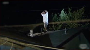 C�o policial age contra criminoso em telhado