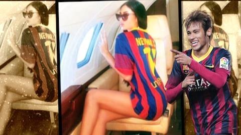 Neymar d� 'carona' para modelo s�rvia em jatinho