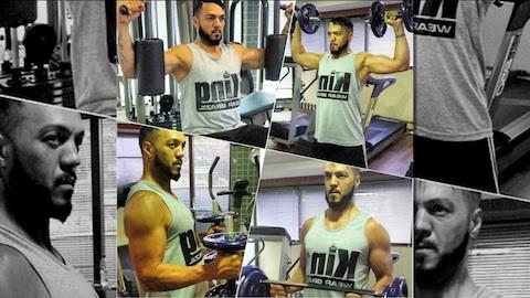 Belo malha forte e mostra bra�o musculoso