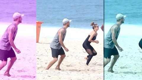 Fernanda Lima vai � praia com Rodrigo Hilbert