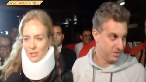 Ang�lica e Luciano Huck deixam hospital ap�s acidente de avi�o