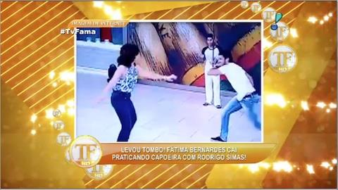 Fátima Bernardes leva tombo ao praticar capoeira com Rodrigo Simas