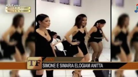 Anitta ensina Simone e Simaria a dançarem para gravar clipe