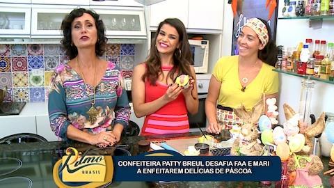 Mari Antunes e Faa Morena aprendem a fazer del�cias para a P�scoa