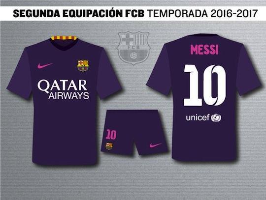 47d35a4bee376 Barcelona estreará camisa roxa na temporada 2016 2017. Redação RedeTV!  Messi já tem modelo pronto para próxima temporada (Foto  Reprodução)