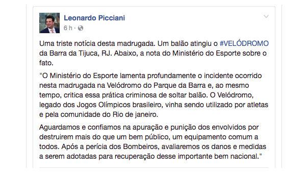 Fogo destrói Velódromo no Parque Olímpico do Rio de Janeiro