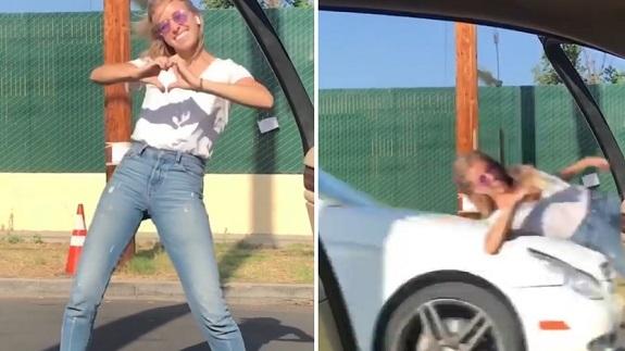 É montagem! Mulher não foi atropelada ao fazer desafio da dança fora do  carro dcd509fb64b50