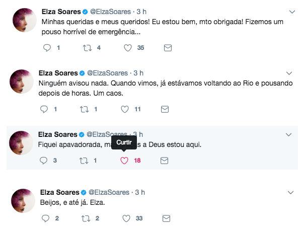 Susto: Avião é incendiado e Elza Soares é uma das vítimas