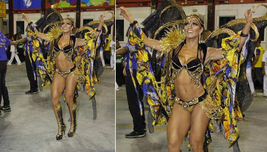 Carla Prata brilhou no desfile da Acadêmicos da Rocinha, no Rio de Janeiro