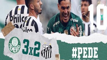 Palmeiras vence Santos por 3 a 2 e emplaca sequência de cinco vitórias seguidas