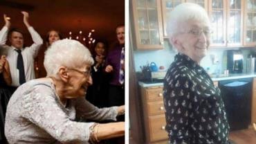 Idosa de 87 anos corrige a postura após começar a praticar ioga
