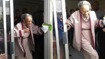 Idosa faz sucesso ao dançar em seu aniversário de 100 anos