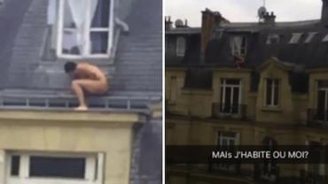 Homem é flagrado 'se escondendo' pelado em fachada de prédio na França
