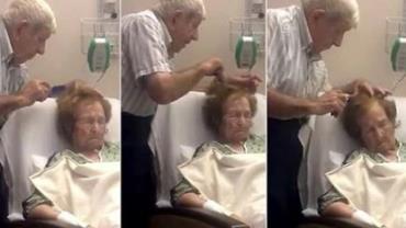 Idoso é filmado penteando cabelo da mulher e conquista a internet
